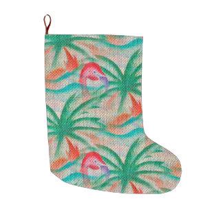 Flamingo-Palme-Leinwand-Blick Großer Weihnachtsstrumpf