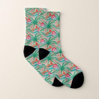 Flamingo-Palme-Leinwand-Blick Socken