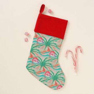Flamingo-Palme-Leinwand-Blick Weihnachtsstrumpf