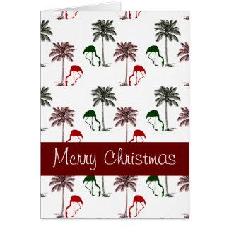 Flamingo-Palme-Muster-frohe Weihnachten Karte