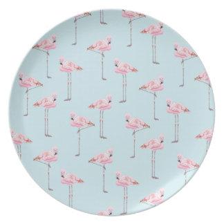 FLAMINGO-PARK blaue rosa Platte Flache Teller