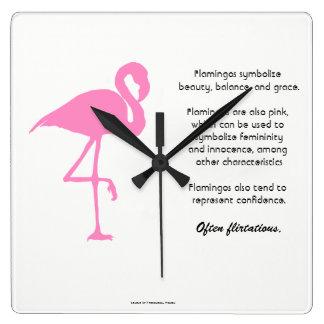 Flamingo Quadratische Wanduhr
