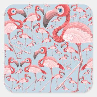 Flamingo Quadratischer Aufkleber