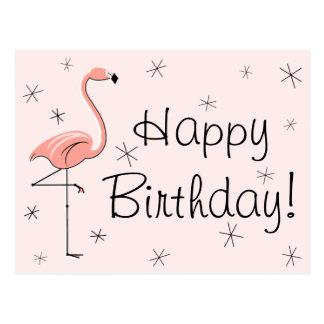 "Flamingo-rosa ""alles Gute zum Geburtstag!"" Postkarte"