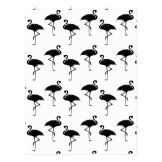 Flamingo-Silhouette-Muster Schwarz-weiß Postkarte