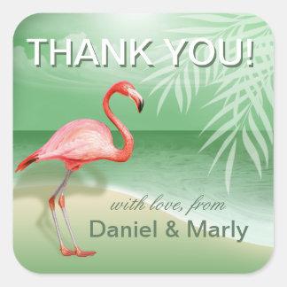 Flamingo-Strand danken Ihnen | Jade Quadratischer Aufkleber