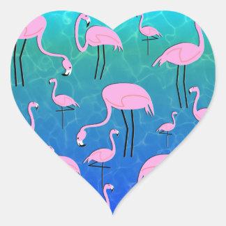 Flamingo-Teich Herz-Aufkleber