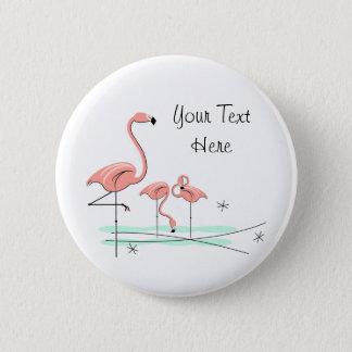 "Flamingo-Trio 4"" Text"" Knopf Runder Button 5,7 Cm"