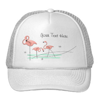 "Flamingo-Trio-""Text"" Fernlastfahrerhut Retrokultcap"