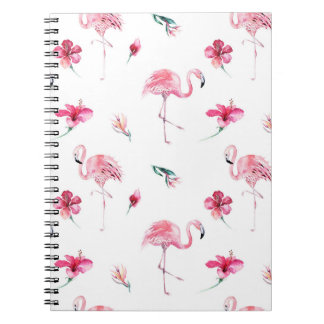 Flamingo-Tropen-Sommer-Inselchic-Hibiskus-Rosa Notizblock