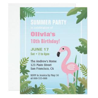 Flamingo-tropische Sommer-Geburtstags-Party 10,8 X 14 Cm Einladungskarte