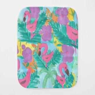 Flamingo-tropischer Dschungel-Druck Baby Spucktuch