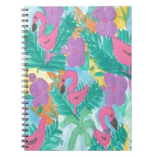 Flamingo-tropisches Dschungel-Muster Spiral Notizblock