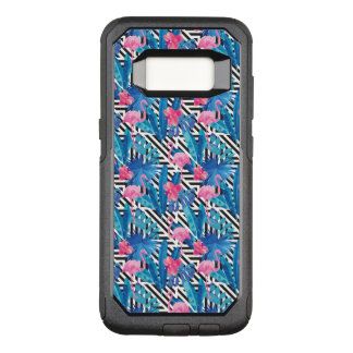 Flamingo u. Palmen auf geometrischem Muster OtterBox Commuter Samsung Galaxy S8 Hülle