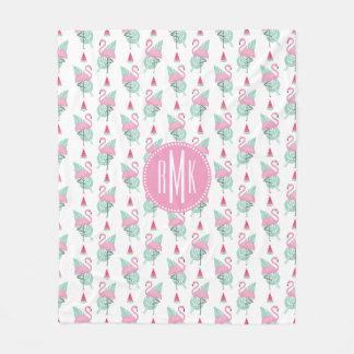 Flamingo-u. Wassermelone-Pastell-Muster Fleecedecke