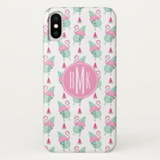 Flamingo-u. Wassermelone-Pastell-Muster iPhone X Hülle