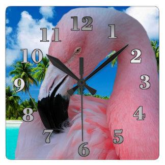 Flamingo und Strand Quadratische Wanduhr
