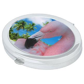 Flamingo und Strand Schminkspiegel