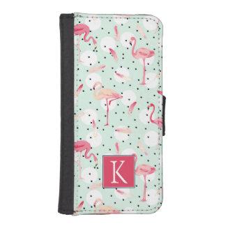 Flamingo-Vogel mit Federn | addieren Ihre Initiale iPhone SE/5/5s Geldbeutel Hülle