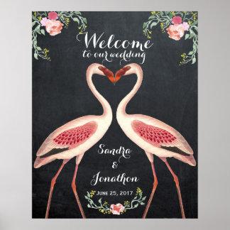 Flamingohochzeits-Zeichentafel Poster