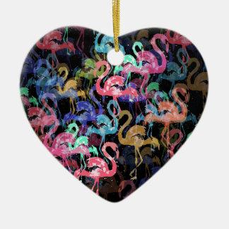 Flamingomuster Keramik Ornament
