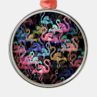 Flamingomuster Silbernes Ornament