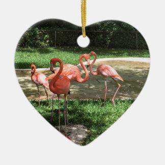 Flamingos auf dem Riviera-Maya in Mexiko Keramik Herz-Ornament