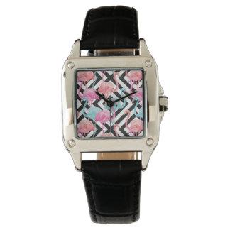 Flamingos auf mutigem Entwurfs-Muster Uhr