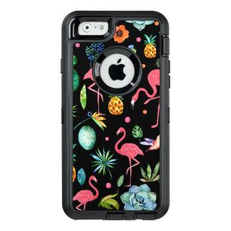 Flamingos mit tropischen Blumen u. Blättern OtterBox iPhone 6/6s Hülle