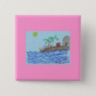 Flamingos nachts quadratischer button 5,1 cm