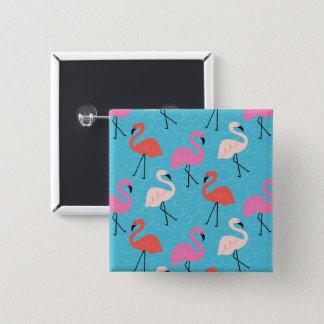 Flamingos Quadratischer Button 5,1 Cm