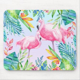 Flamingos u. bunte tropische Blumen Mousepad
