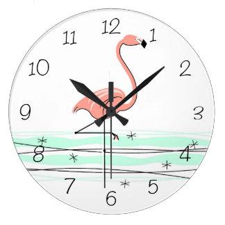 Flamingouhrzahlen rund große wanduhr