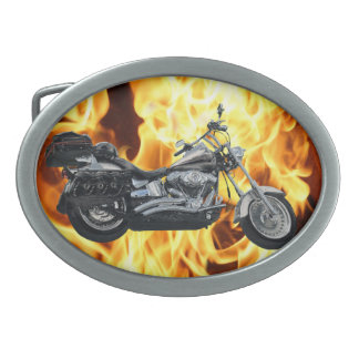Flammen u. cooler Motorrad-Power-Maschinen-Reiter- Ovale Gürtelschnallen