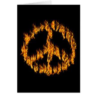 Flammen und Herz-Friedenszeichen Karte