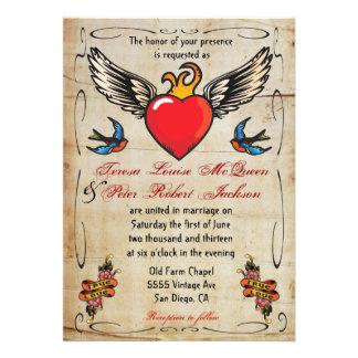 Flammen Winged Herz-Tätowierungs-Hochzeits-Einladu Individuelle Ankündigungen