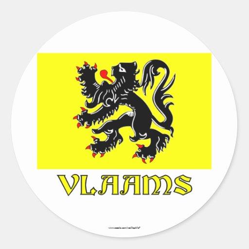Flandern-Regions-Flagge mit Namen Runder Sticker