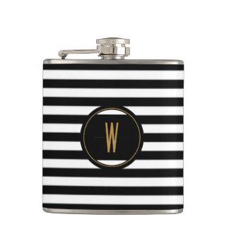 Flasche, mit Monogramm mit schwarzen Streifen Flachmann