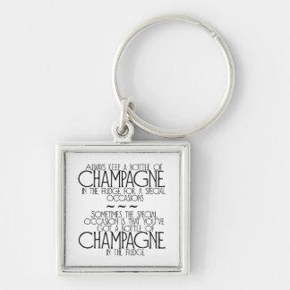 Flasche von Champagne in der Kühlschrank-Phrase Schlüsselanhänger
