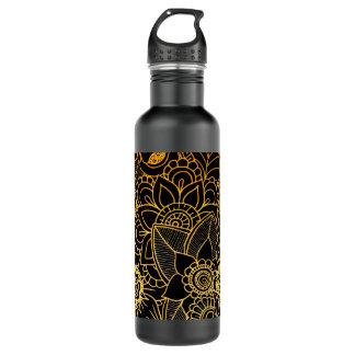Flaschen-Blumengekritzel-Gold G523 Trinkflasche