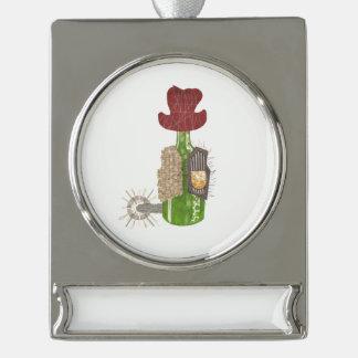 Flaschen-Cowboy-Fahnen-Verzierung Banner-Ornament Silber