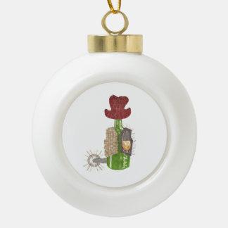 Flaschen-Cowboy-Flitter Keramik Kugel-Ornament