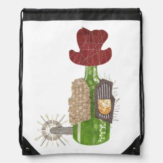 Flaschen-Cowboydrawstring-Tasche Sportbeutel