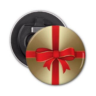 Flaschen-Öffner - Magnet - roter Bogen u. Band auf Runder Flaschenöffner