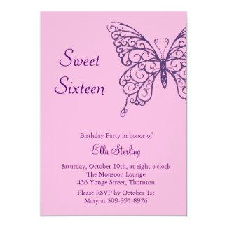 Flatternde Schmetterlings-16. Geburtstag-Einladung 12,7 X 17,8 Cm Einladungskarte