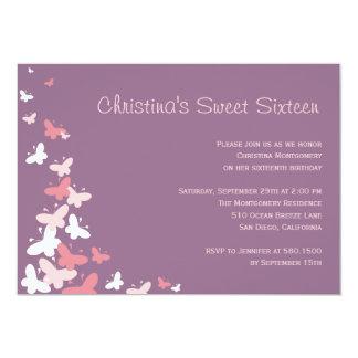 Flatternde Schmetterlings-Geburtstags-Party 12,7 X 17,8 Cm Einladungskarte