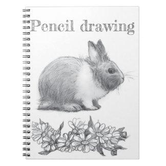 Flaumig das Kaninchen. Bleistiftzeichnung Notizblock