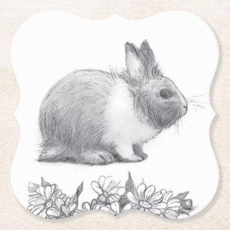 Flaumig das Kaninchen. Bleistiftzeichnung Untersetzer