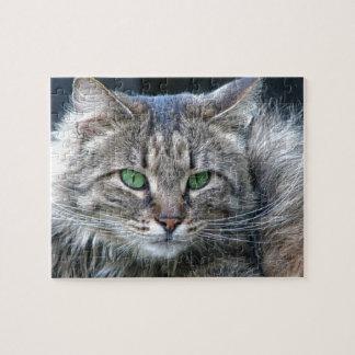 Flaumige Grün-Mit Augen Tiger-Miezekatze-Katze Puzzle