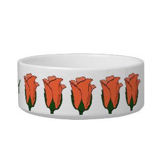 Flaumige korallenrote Rosen-Katzen-Schüssel Napf